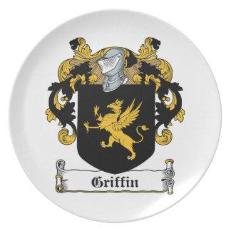 Escudo de la familia del grifo platos de comidas