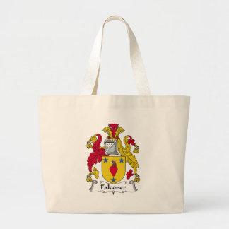 Escudo de la familia del halconero bolsas lienzo