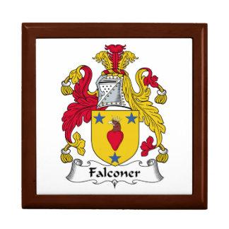 Escudo de la familia del halconero cajas de joyas