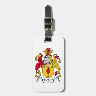 Escudo de la familia del halconero etiqueta para maleta