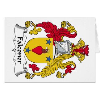Escudo de la familia del halconero felicitacion