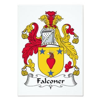 Escudo de la familia del halconero invitación 12,7 x 17,8 cm
