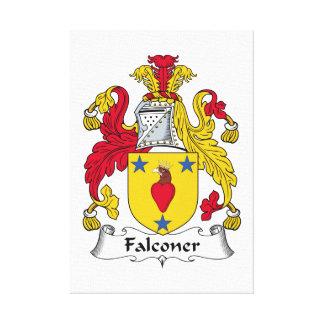 Escudo de la familia del halconero impresión en lona