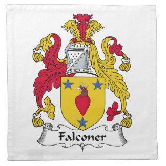 Escudo de la familia del halconero servilletas imprimidas