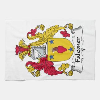 Escudo de la familia del halconero toalla de mano