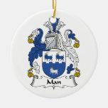 Escudo de la familia del hombre ornamentos de navidad