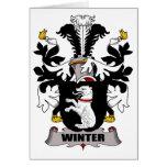 Escudo de la familia del invierno felicitaciones