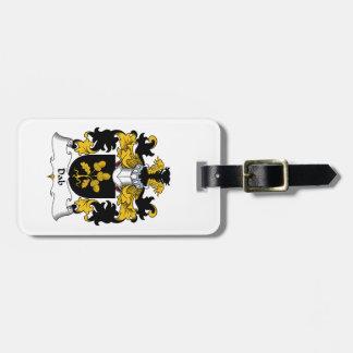 Escudo de la familia del lenguado etiqueta de equipaje