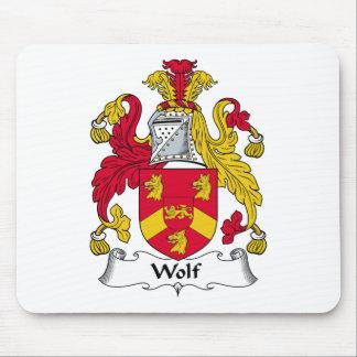 Escudo de la familia del lobo alfombrillas de ratones