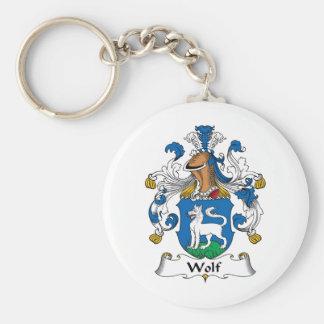 Escudo de la familia del lobo llavero redondo tipo pin