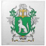 Escudo de la familia del lobo servilleta imprimida