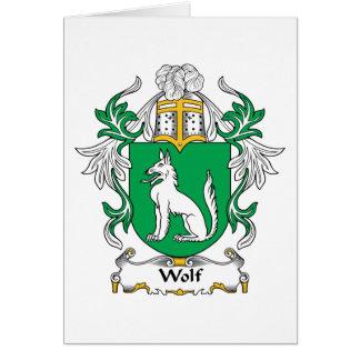 Escudo de la familia del lobo tarjeta de felicitación