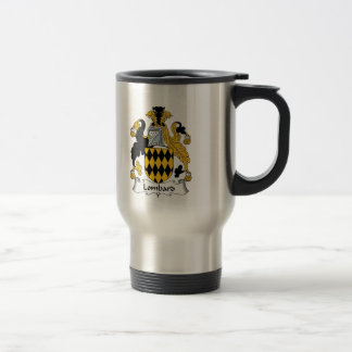 Escudo de la familia del lombardo taza de viaje