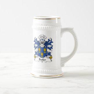 Escudo de la familia del mayordomo jarra de cerveza