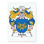 Escudo de la familia del Melia Invitación 12,7 X 17,8 Cm