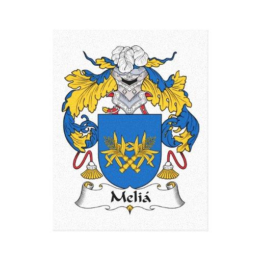 Escudo de la familia del Melia Lona Envuelta Para Galerias