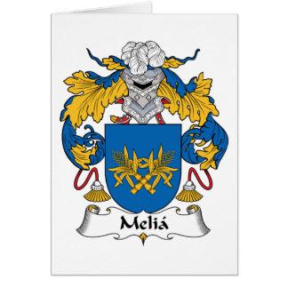 Escudo de la familia del Melia Tarjeta De Felicitación