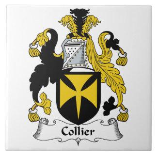 Escudo de la familia del minero azulejo cuadrado grande