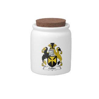 Escudo de la familia del minero jarras para caramelos