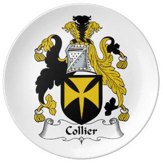 Escudo de la familia del minero platos de cerámica