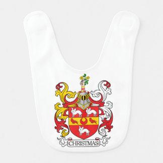Escudo de la familia del navidad baberos para bebé