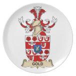 Escudo de la familia del oro plato de cena