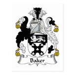 Escudo de la familia del panadero tarjetas postales