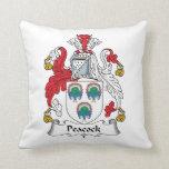 Escudo de la familia del pavo real almohada