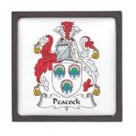 Escudo de la familia del pavo real caja de regalo de calidad
