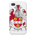 Escudo de la familia del pavo real iPhone 4 funda