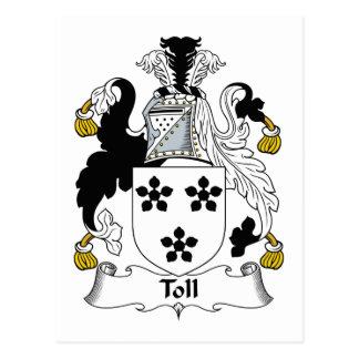 Escudo de la familia del peaje tarjeta postal