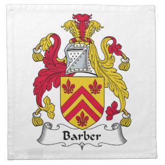 Escudo de la familia del peluquero servilletas imprimidas