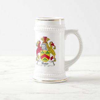 Escudo de la familia del pizarrero jarra de cerveza