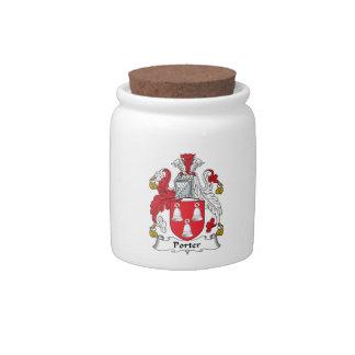 Escudo de la familia del portero platos para caramelos