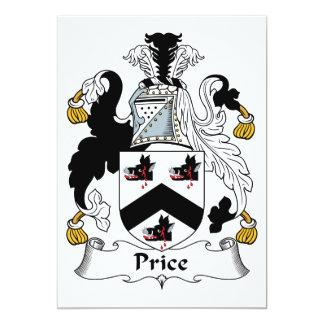 Escudo de la familia del precio invitación 12,7 x 17,8 cm