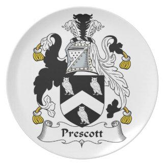 Escudo de la familia del Prescott Plato De Comida