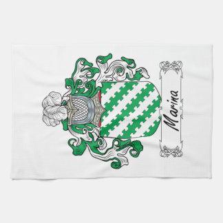 Escudo de la familia del puerto deportivo toalla de cocina