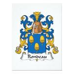 Escudo de la familia del Rondeau Invitación 16,5 X 22,2 Cm