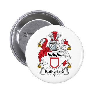 Escudo de la familia del Rutherford Pin Redondo De 2 Pulgadas