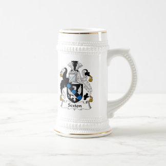 Escudo de la familia del sacristán jarra de cerveza