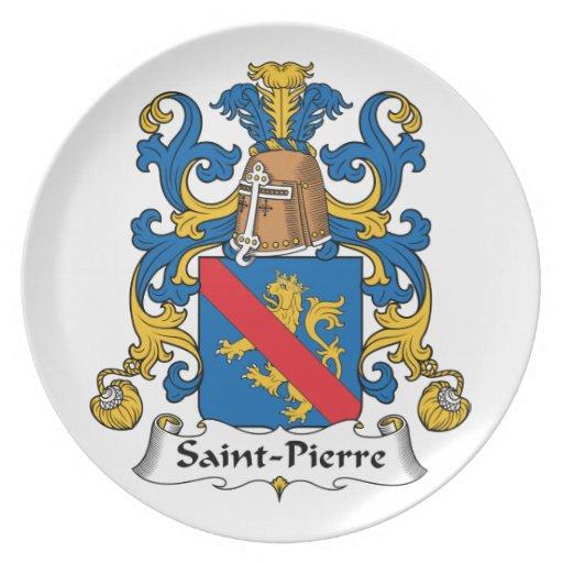 Escudo de la familia del Saint Pierre Platos De Comidas