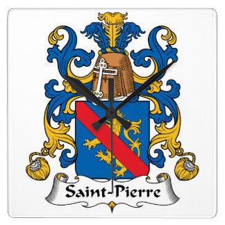 Escudo de la familia del Saint Pierre Reloj Cuadrado