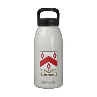 Escudo de la familia del saltador botellas de agua reutilizables