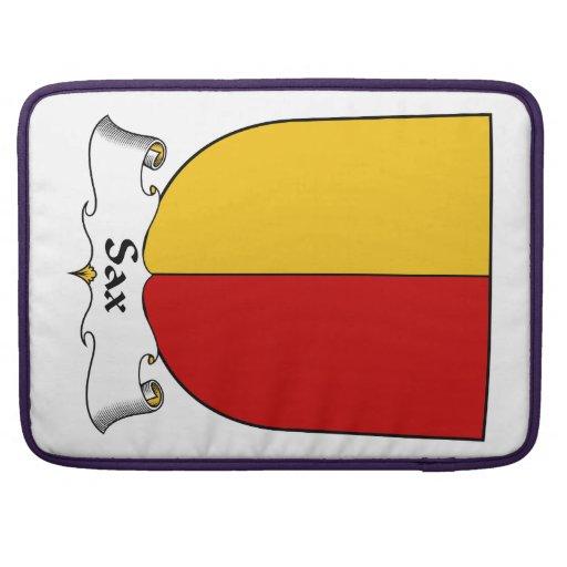 Escudo de la familia del saxofón fundas para macbook pro
