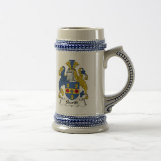 Escudo de la familia del sheriff jarra de cerveza