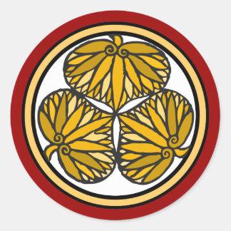 Escudo de la familia del shogún de Tokugawa, Pegatina Redonda