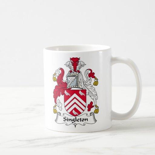 Escudo de la familia del Singleton Taza De Café