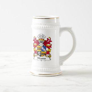 Escudo de la familia del tejedor jarra de cerveza