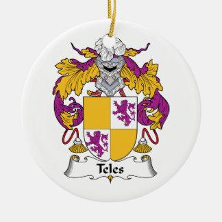 Escudo de la familia del Teles Adorno Navideño Redondo De Cerámica