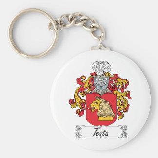 Escudo de la familia del Testa Llavero Redondo Tipo Pin